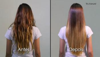 antes e depois da selagem para cabelo