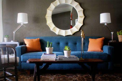sofa azul 470x313 - MÓVEIS PARA SALA DE ESTAR E JANTAR decoração ideal do ambiente