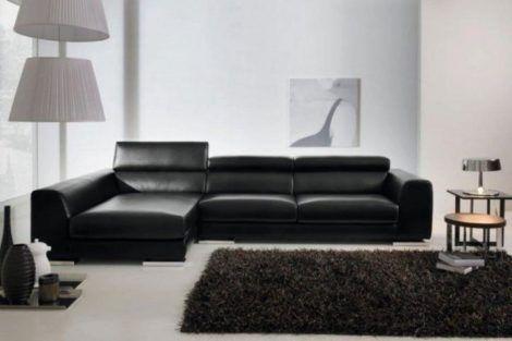 sofa para sala preto de couro 470x313 - MÓVEIS PARA SALA DE ESTAR E JANTAR decoração ideal do ambiente