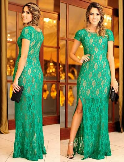 vestido verde para festa de renda - VESTIDO VERDE PARA FESTA curto ou longo super sofisticados