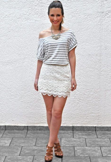 blusa de malha com saia 1 470x689 - BLUSAS DE MALHA femininas, Looks Com Calça, saia, Short