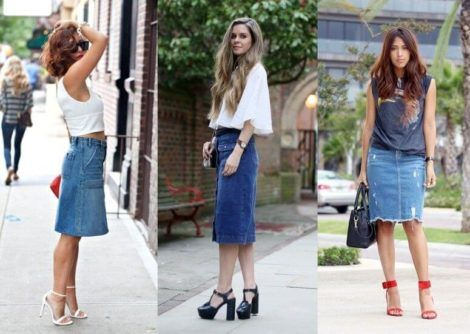 blusa de malha com saia jeans 470x334 - BLUSAS DE MALHA femininas, Looks Com Calça, saia, Short