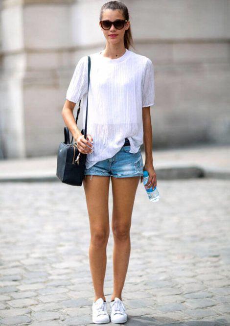blusinha com short 470x666 - BLUSAS DE MALHA femininas, Looks Com Calça, saia, Short