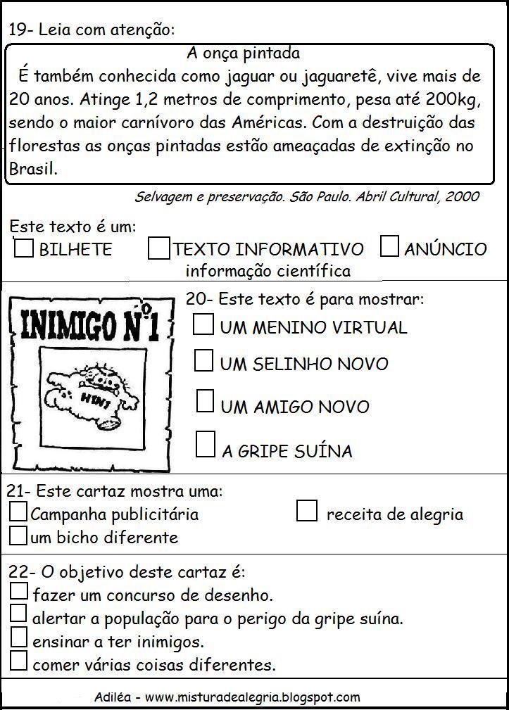 Famosos Avaliação de Português para 1 ano | Moda & Decor LI74