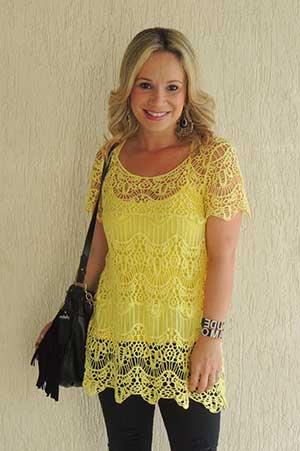 blusa de renda amarela 1 - BLUSA DE RENDA AMARELA, modelos para usar com saia e shorts