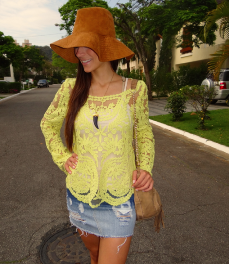 blusa de renda amarela 10 470x541 - BLUSA DE RENDA AMARELA, modelos para usar com saia e shorts