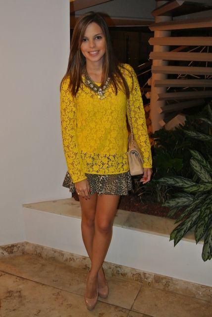blusa de renda amarela 2 - BLUSA DE RENDA AMARELA, modelos para usar com saia e shorts