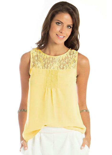 blusa de renda amarela 5 470x650 - BLUSA DE RENDA AMARELA, modelos para usar com saia e shorts