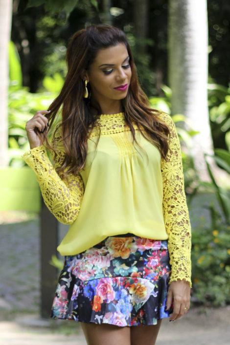 blusa de renda amarela 6 470x706 - BLUSA DE RENDA AMARELA, modelos para usar com saia e shorts