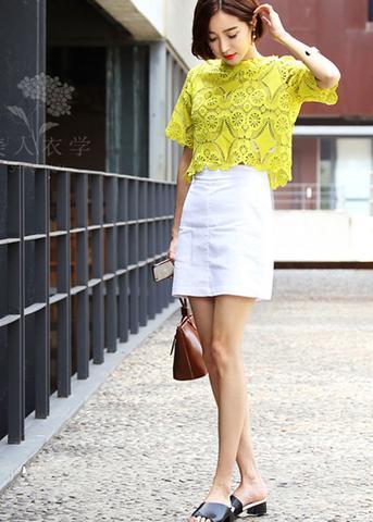 imagem 25 2 - BLUSA DE RENDA AMARELA, modelos para usar com saia e shorts