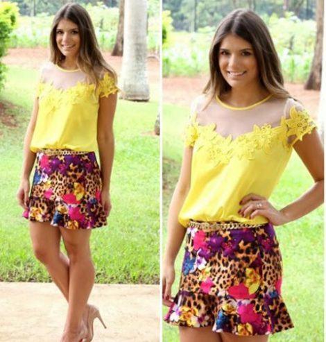 imagem 28 2 470x493 - BLUSA DE RENDA AMARELA, modelos para usar com saia e shorts