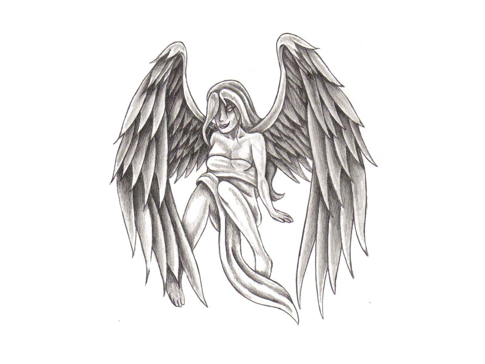 anjo em desenho para tatuagem