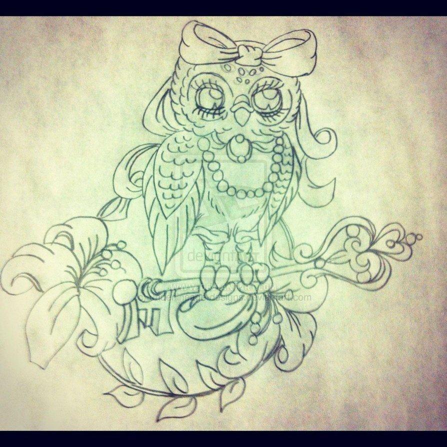 coruja com chave em desenho