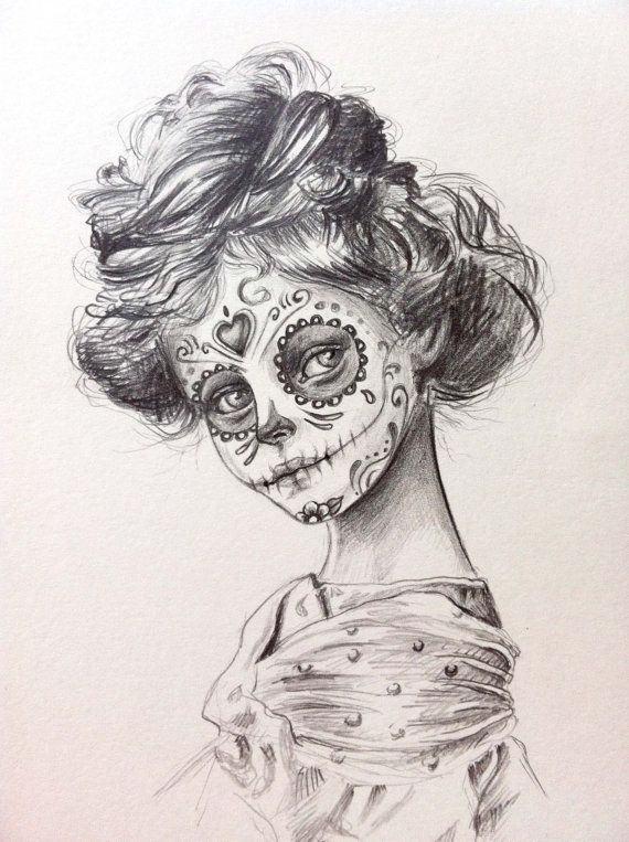 desenho de menina delicada para tatuagem