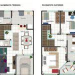 projetos em plantas de sobrados de 3 quartos 150x150 - Plantas de sobrados de 3 quartos grandes e com closet