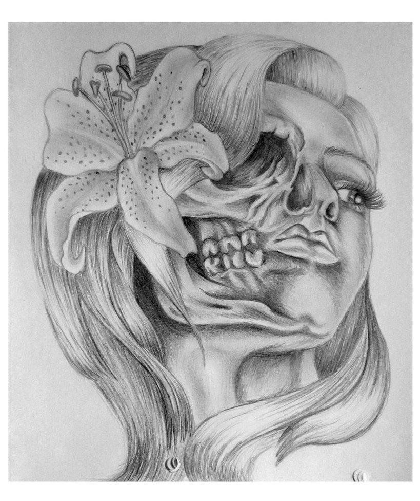 tatuagens de caveira de mulher com flor