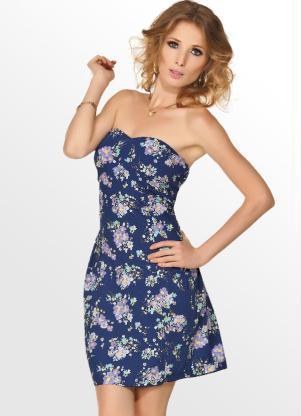 vestido azul tomara que caaia - VESTIDO FLORAL TOMARA QUE CAIA, curto ou longo moda verão