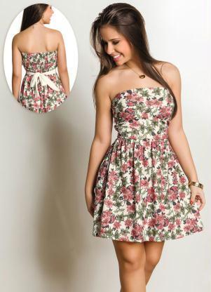 vestido floral tomara que caia com laco atras - VESTIDO FLORAL TOMARA QUE CAIA, curto ou longo moda verão