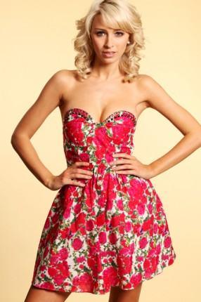 vestido vermelho floral tomara que caia - VESTIDO FLORAL TOMARA QUE CAIA, curto ou longo moda verão