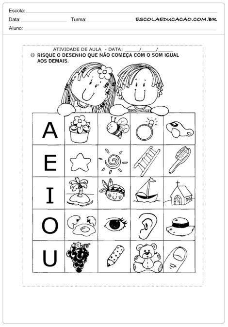 atividades com vogais 470x674 - Atividades de ALFABETIZAÇÃO COM VOGAIS - aprenda as letras