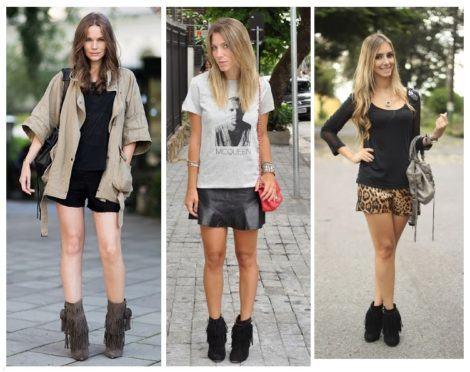 como usar botinha com franja 470x372 - Botinha feminina com franja : Com saia, vestido e calça jeans (Veja como usar)