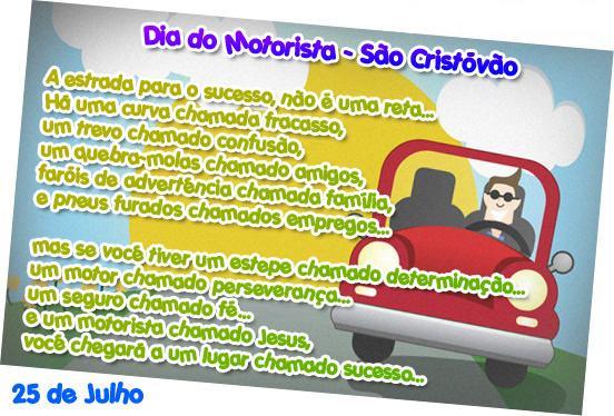 frases para dia do motorista brasil 2 - Dia do Motorista no Brasil 25 de julho padroeiro São Cristóvão