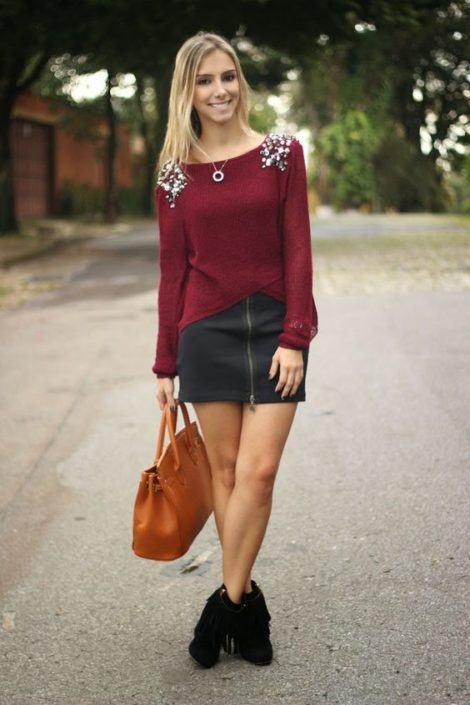 imagem 10 470x705 - Botinha feminina com franja : Com saia, vestido e calça jeans (Veja como usar)