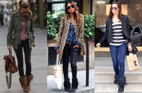 imagem 29 470x309 - Botinha feminina com franja : Com saia, vestido e calça jeans (Veja como usar)