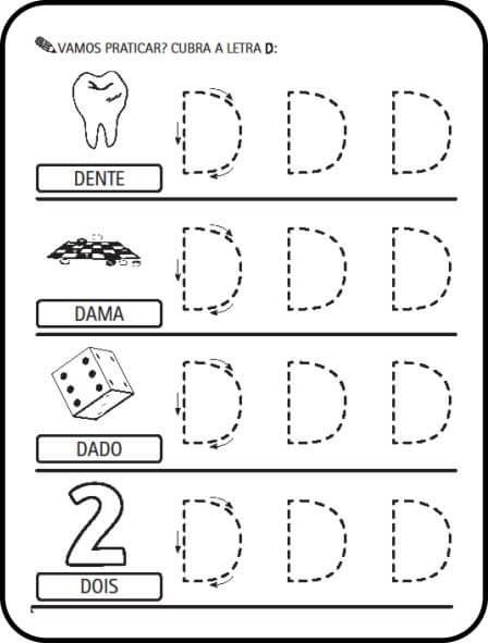 letra d ativiadde - Atividades letras do Alfabeto para colorir para aprendizado
