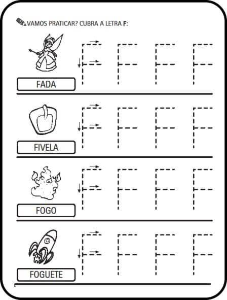 letra f - Atividades letras do Alfabeto para colorir para aprendizado