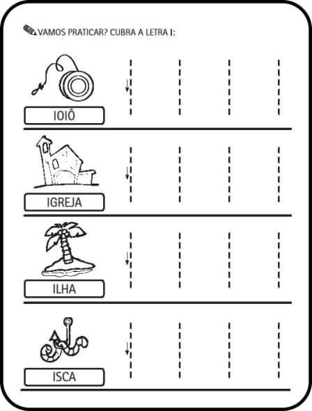 letra i - Atividades letras do Alfabeto para colorir para aprendizado