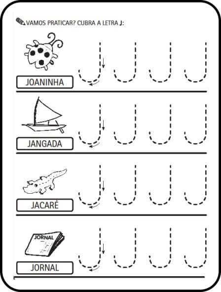 letra j - Atividades letras do Alfabeto para colorir para aprendizado