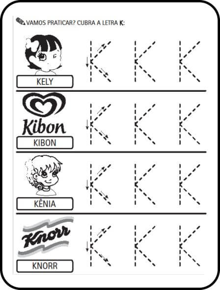 letra k - Atividades letras do Alfabeto para colorir para aprendizado