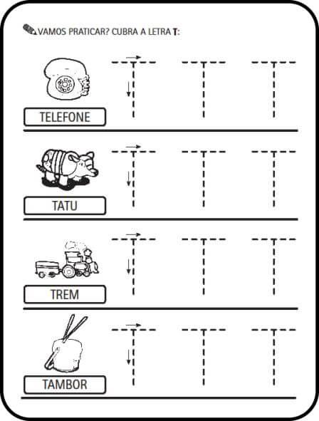 letra t - Atividades letras do Alfabeto para colorir para aprendizado