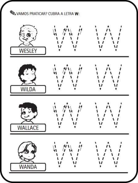 letra w - Atividades letras do Alfabeto para colorir para aprendizado