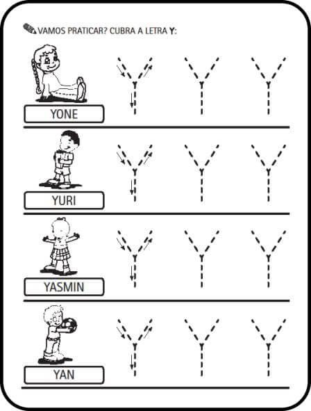 letra y - Atividades letras do Alfabeto para colorir para aprendizado