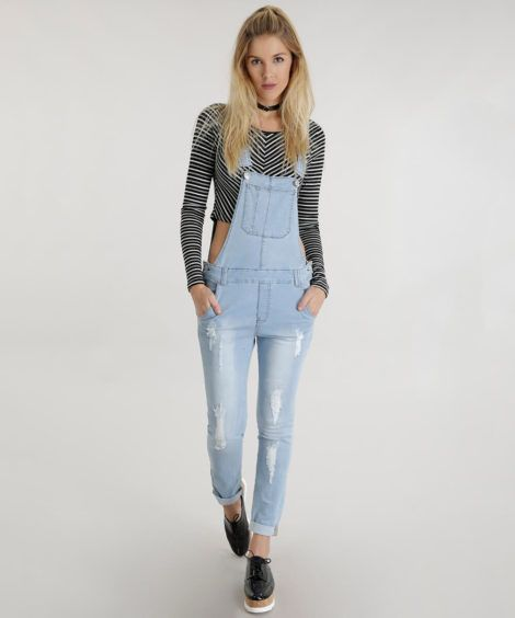 macacao feminino jeans 1 470x564 - Macacão feminino 2018 super na moda ( Veja os looks )