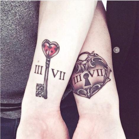 tatuagens de casal chave e fechadura 470x472 - TATUAGENS DE CASAL lindas que se completam