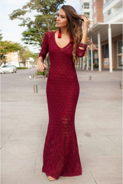 vestido croche longo vermelho - VESTIDOS DE CROCHE modelo curto, longo : O que está na moda