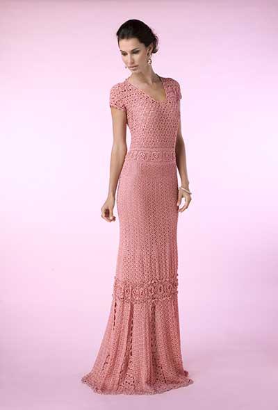 vestido croche rosa longo - VESTIDOS DE CROCHE modelo curto, longo : O que está na moda