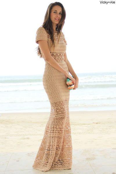 vestido de festa longo croche - VESTIDOS DE CROCHE modelo curto, longo : O que está na moda