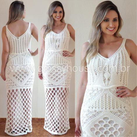 vestido longo croche branco 470x470 - VESTIDOS DE CROCHE modelo curto, longo : O que está na moda