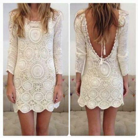 vestidos de croche brancos 470x470 - VESTIDOS DE CROCHE modelo curto, longo : O que está na moda