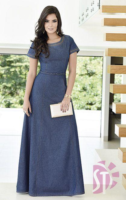 vestidos evangelicos jeans 7 - Como usar os VESTIDOS EVANGÉLICOS JEANS e esporte fino
