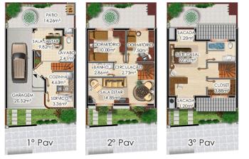 melhor planta de sobrado com 3 pisos 350x223 - Planta de sobrado com 3 pisos perfeitas para terrenos mais estreitos