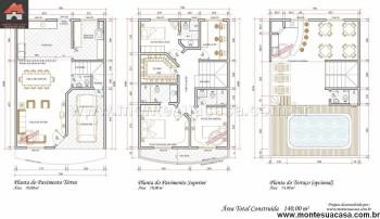 melhor planta de sobrado com 3 pisos para imprimir 350x202 - Planta de sobrado com 3 pisos perfeitas para terrenos mais estreitos