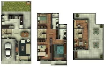 melhores planta de sobrado com 3 pisos 350x223 - Planta de sobrado com 3 pisos perfeitas para terrenos mais estreitos