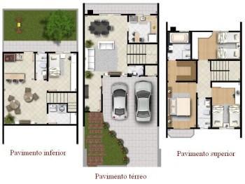 planta de sobrado com 3 pisos 350x263 - Planta de sobrado com 3 pisos perfeitas para terrenos mais estreitos