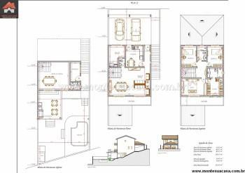 planta de sobrado com 3 pisos para imprimir 350x247 - Planta de sobrado com 3 pisos perfeitas para terrenos mais estreitos