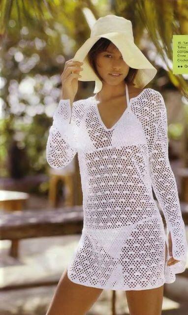 saida de praia de croche curta 2 - Moda verão Saída de praia de CROCHÊ (curta ou longa)